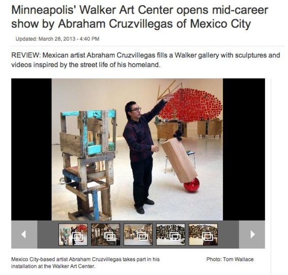 Minneapolis' Walker Art Center opens mid-career show by Abraham Cruzvillegas of Mexico City