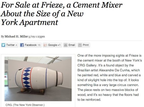 For Sale at Frieze, a Cement Mixer About the Size of a New York Apartment