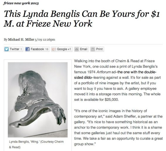 This Lynda Benglis can be yours for $1M. at Frieze New York