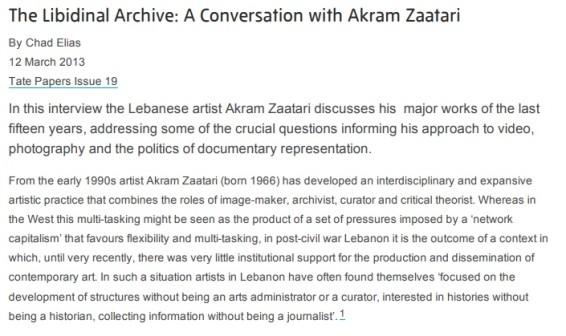 The Libidinal Archive: A Conversation with Akram Zaatari