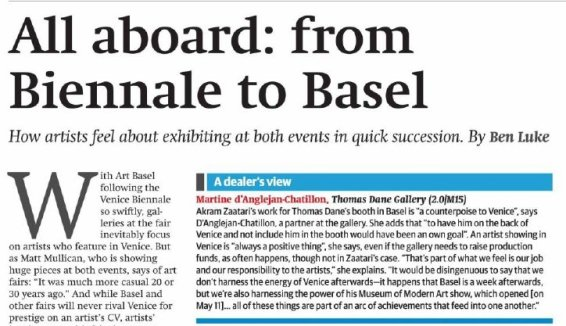 All aboard: from Biennale to Basel