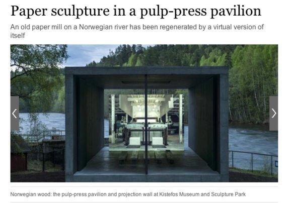 Paper sculpture in a pulp-press pavilion