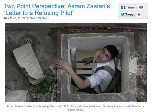 "Two Point Perspective: Akram Zaatari's ""Letter to a Refusing Pilot"""