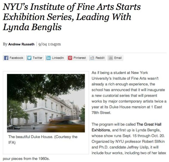 NYU's Institute of Fine Arts Starts Exhibition Series, Leading with Lynda Benglis