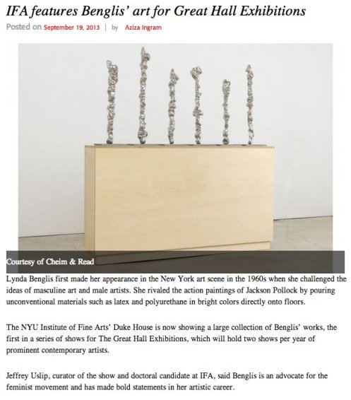 IFA features Benglis' art for Great Hall Exhibitions