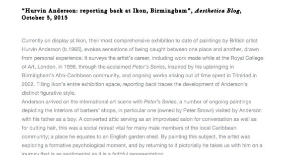 Hurvin Anderson: reporting back at Ikon, Birmingham