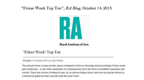 Frieze Week Top Ten