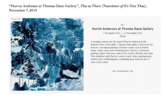 Hurvin Anderson at Thomas Dane Gallery