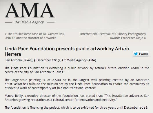 Linda Pace Foundation presents public artwork by Arturo Herrera