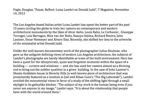 """""""Pause, Reflect: Luisa Lambri on Donald Judd"""""""