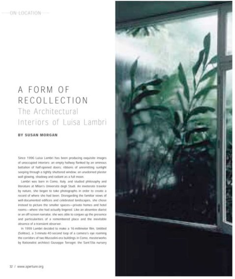 A Form of Recollection. The Architectural Interiors of Luisa Lambri