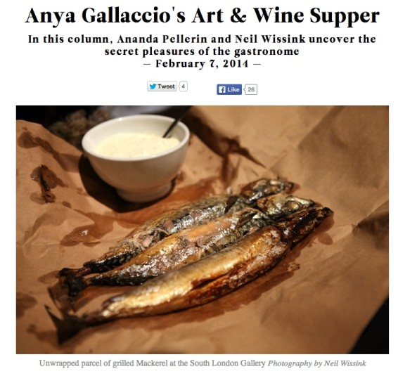 Anya Gallaccio's Art & Wine Supper