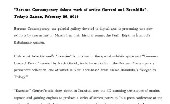 Borusan Contemporary debuts work of artists Gerrard and Brambilla
