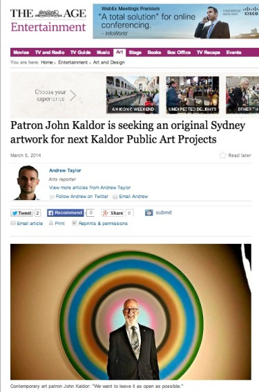Patron John Kaldor is seeking an original Sydney artwork for next Kaldor Public Art Projects