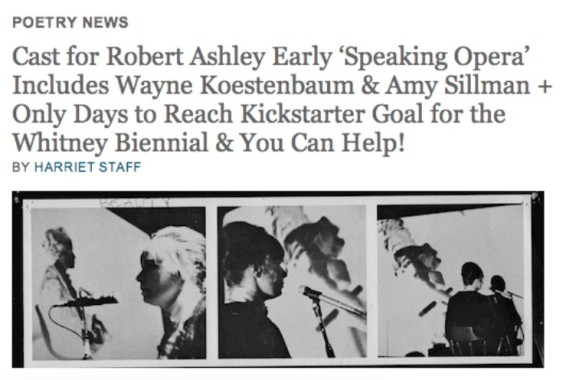 Cast for Robert Ashley Early 'Speaking Opera' includes Wayne Kostenbaum & Amy Sillman + Only Days to reach Kickstarter G