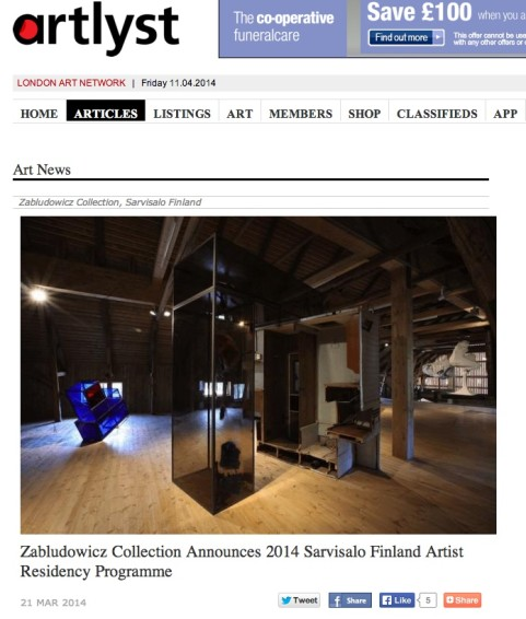 Zabludowicz Collection Announces 2014 Sarvisalo Finland Artist Residency Programme