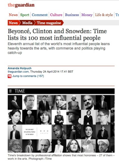 Beyoncé, Clinton and Snowden: Time lists its 100 most influential people