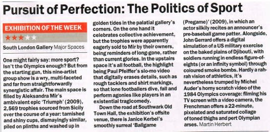 The Pursuit of Perfection: The Politics of Sport