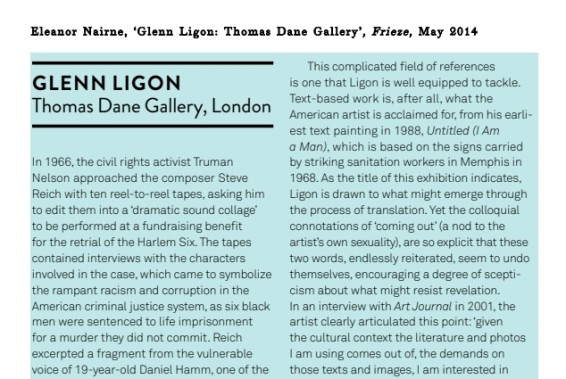 Glenn Ligon: Thomas Dane Gallery