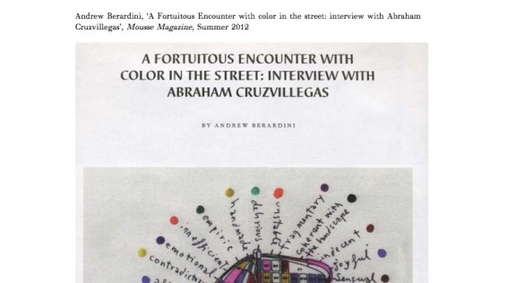 A Fortuitous Encounter with Color in the Street: Interview with Abraham Cruzvillegas