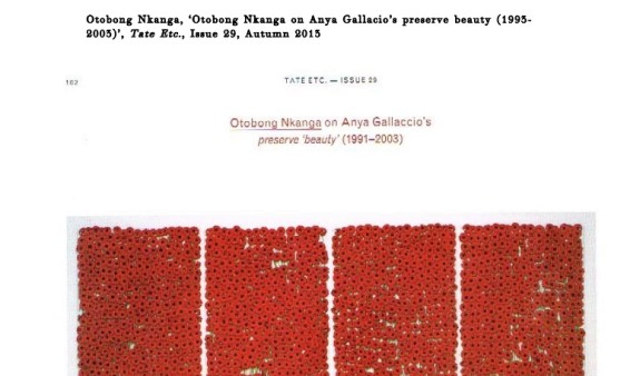 Otobong Nkanga on Anya Gallacio's