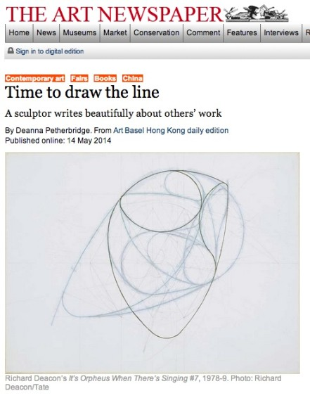 Time to draw the line: A sculptor writes beautifully about others' work
