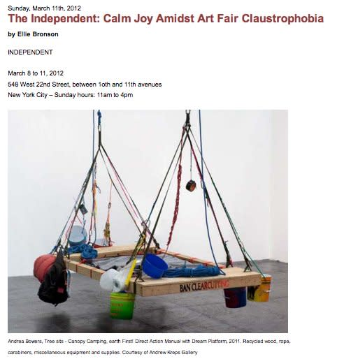 The Independent: Calm Joy Amidst Art Fair Claustrophobia