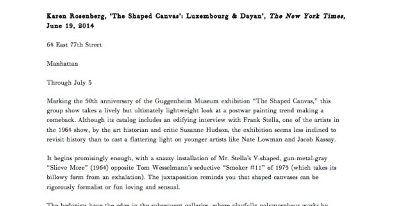 The Shaped Canvas: Luxembourg & Dayan