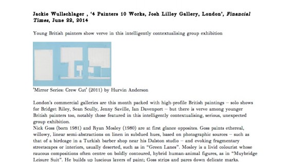 4 Painters 10 Works, Josh Lilley Gallery, London