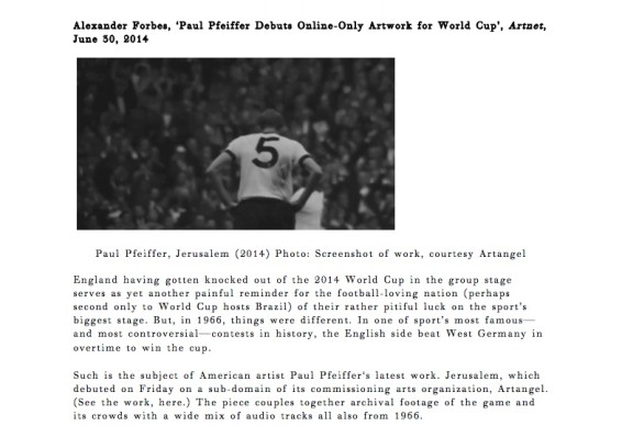 Paul Pfeiffer Debuts Online-Only Artwork for World Cup
