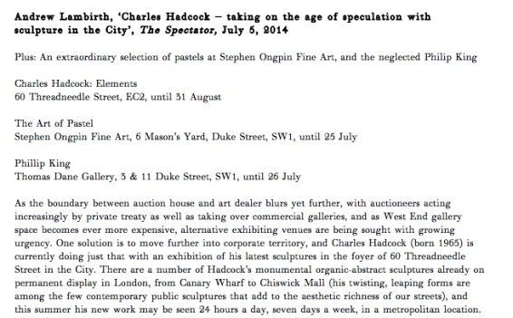 Charles Hadcock – taking on the age of speculation with sculpture in the City