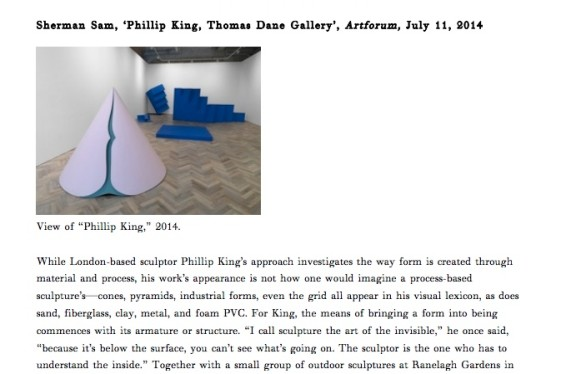 Phillip King, Thomas Dane Gallery