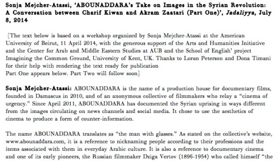 ABOUNADDARA's Take on Images in the Syrian Revolution: A Conversation between Charif Kiwan and Akram Zaatari (Parts One