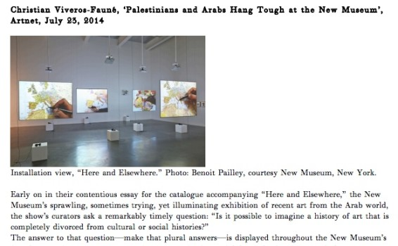 Palestinians and Arabs Hang Tough at the New Museum