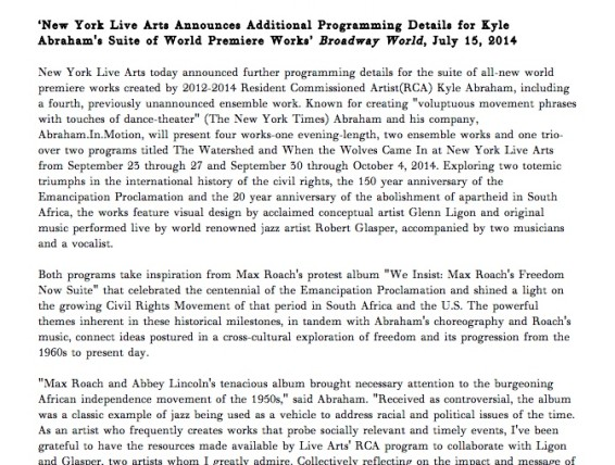 New York Live Arts Announces Additional Programming Details for Kyle Abraham's Suite of World Premiere Works