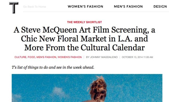 A Steve McQueen Art Film Screening, a Chic New Floral Market in L.A. and More From the Cultural Calendar