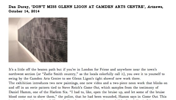 DON'T MISS GLENN LIGON AT CAMDEN ARTS CENTRE