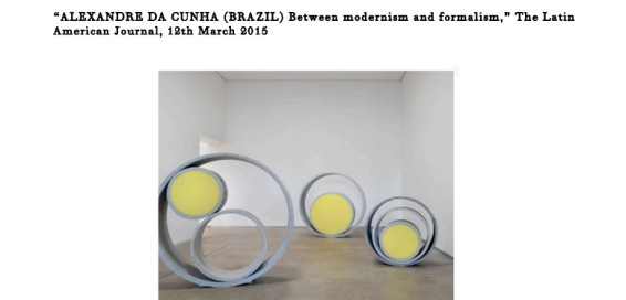 Alexandre da Cunha (Brazil) Between modernism and formalism