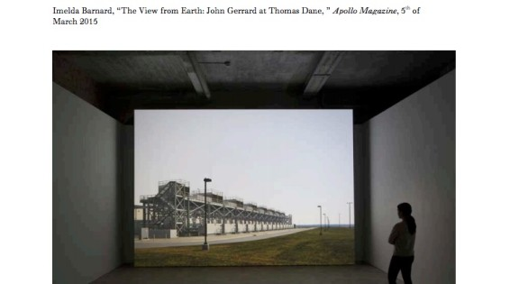 The View from Earth: John Gerrrard at Thomas Dane