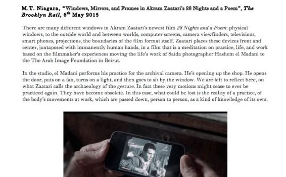 Windows, Mirrors, and Frames in Akram Zaatari's 28 Nights and Poem