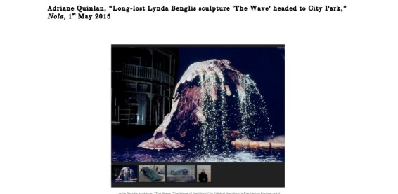Long-lost Lynda Benglis scuplture 'The Wave' ehaded to City Park