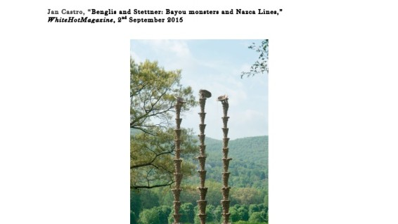 Benglis and Stettner: Bayou monsters and Nazca Lines