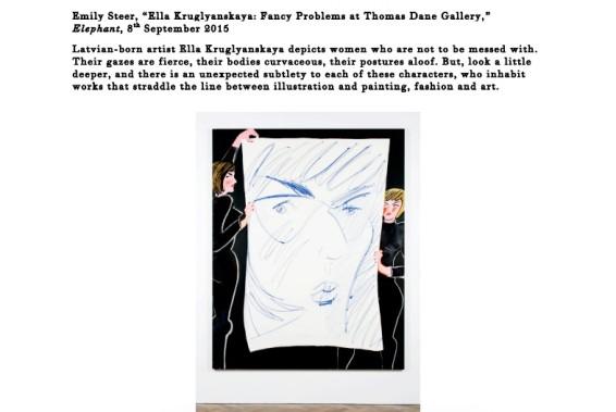 """Ella Kruglyanskaya: Fancy Problems at Thomas Dane Gallery,"""" Elephant"""