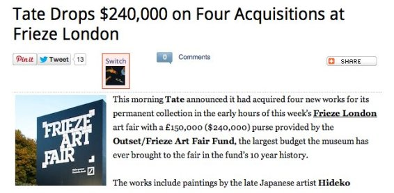Tate Drops $240,000 on Four Acquisitions at Frieze London