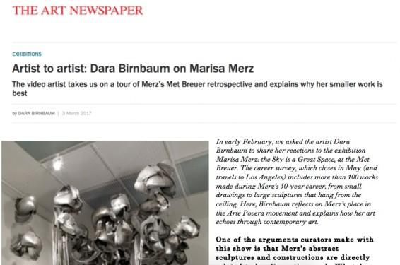 Artist to artist: Dara Birnbaum on Marisa Merz