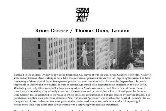 Bruce Conner/Thomas Dane, London