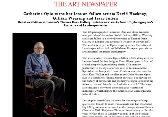 Catherine Opie turns her lens on fellow artists David Hockney, Gillian Wearing and Isaac Julien