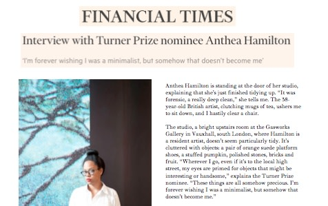 Interview with Turner Prize nominee Anthea Hamilton