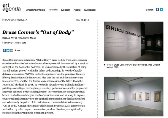 """Bruce Conner's """"Out of Body"""" at Bellas Artes Projects, Makati"""