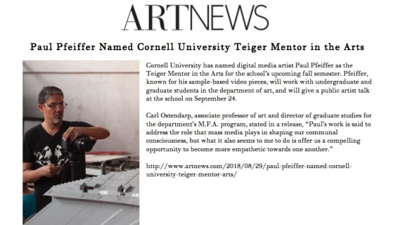 Paul Pfeiffer Named Cornell University Teiger Mentor in the Arts